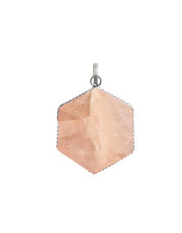 Reiki Crystal Stone Hexagonal Shape Rose Quartz Stone Pendent for Reiki Healing and Crystal Healing Stone Pendant for Love, Happiness, Emotions, Tension,Relationship,Marriage