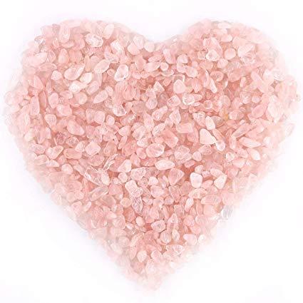 Rose Quartz Chips Stone for Vastu Small Pink Rose Quartz Tumbled Chip Crushed Stone Healing Reiki Crystal Jewelry Making Home, Irregular Shaped Stones Tumble Stones Products Correction