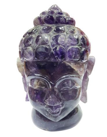 Purple Amethyst Buddha Head | Hand carved | Pranic Healing | Home Decor | Gemstone Buddha Head | God of Fortune,Buddha figurine , Buddha sculpture , Buddha head