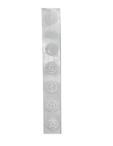 Selenite Seven Chakra Symbols Engraved Selenite Stick/Plate/Wands for Yoga Meditation Balancing Selenite Plate incense holder,Selenite Slab ,Rekhi Selenite charging plate