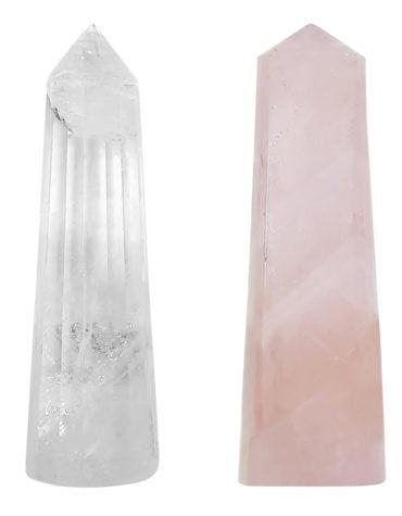 Shiv Shakti Natural Pencils Tower Pair Clear and Rose Quartz,Crystal Shiv Shakti Pair, Clear Quartz & Rose Quartz Energised Crystal Natural Pencils
